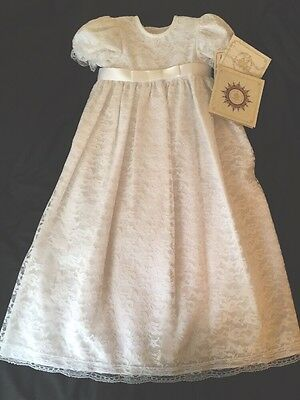 Christening Gown Baby Girl White Lace Baptism Dress SZ 12 Mo  VATICAN COLLECTION