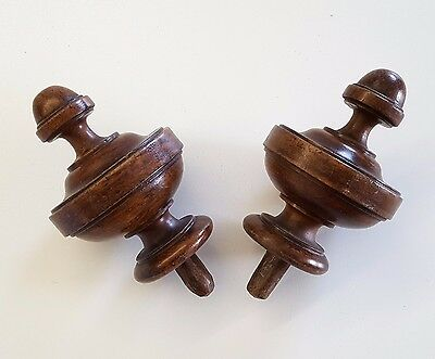 2 ANTIQUE TURNED WOOD POST TOP FINIAL CAP END TOPPER Furniture 5 inches