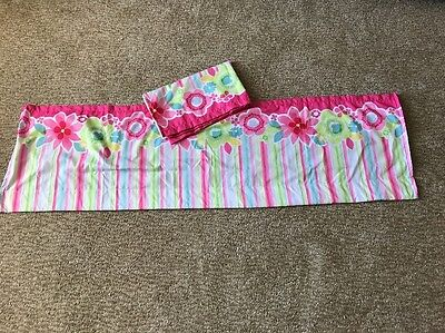 Pair Of Matching Kids Room Nursery Window Valance 60x17. Pink Green Blue.
