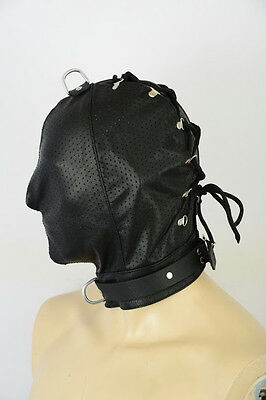 AW-908 ledermaske leder maske,leather mask,hood,masque n cuir  PERFORIERT