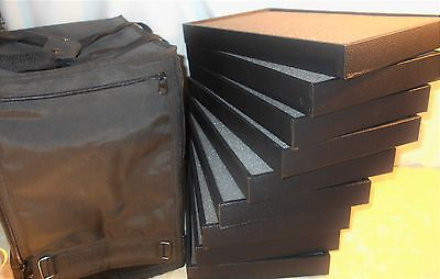 LOT of 9 PLUS CARRYING  BAG,  WOODEN  STACKABLE BLACK JEWELRY DISPLAY BOX TRAY