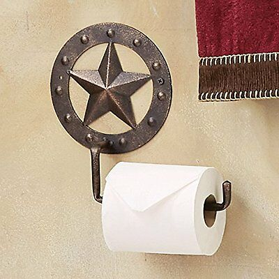Western Country Metal  Star Studded Toilet Paper Holder Rustic Copper Finish