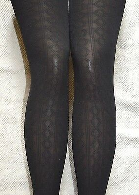 2 X Pairs Black Zig Zag Stripe Tights 10-12 Years Girls Quality Sheer Opaque