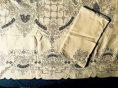 Elaborate banquet tablecloth 72 in. x 210 in. Cutwork and needle lace 24 Napkins