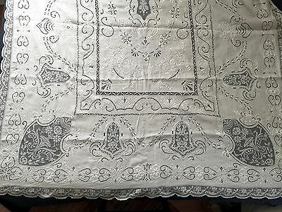 ORNATE Banquet size Cutwork Embroidery and Lace Tablecloth - WHITE