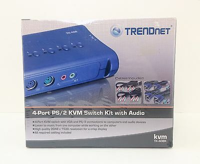 Trendnet TK-408k 4-Port PS/2KVM Switch Kit With Audio | NEW
