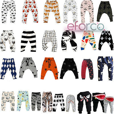 Baby Kids Boys Girls Trouser Bottoms Toddler Legging Sweat Long Harem Pant 0-7 Y