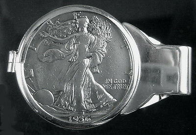 Coin Money Clip Sterling Silver with Walking Liberty Half Dollar, Spring Back