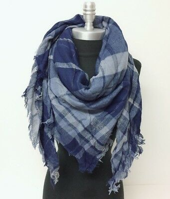 New Square Scarf w/ lurex Plaid Navy Mid weight Cozy Wrap shawl Men Women