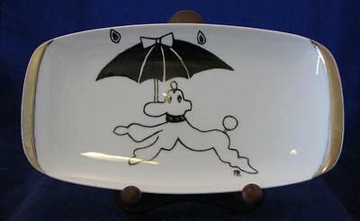 1960s RETRO ROSENTHAL POODLE & UMBRELLA PLATE SIGNED FR? PR? HAND PAINTED #38