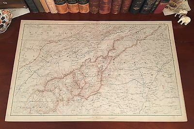 Original Antique Civil War Map TENNESSEE Knoxville NORTH CAROLINA Charlotte NC