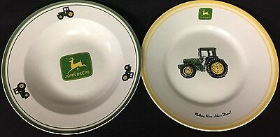 "John Deere Tractor Bowl/plate Lot,two,9"",gibson,china,ceramic,porcelain,vintage"