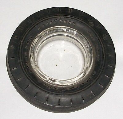 Vintage Goodyear Ashtray Custom Super Cushion Rubber Tire Glass Advertising Old