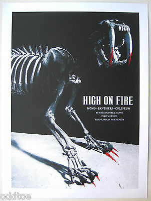 HIGH ON FIRE Poster Original 2007 Concert  S/N AMY JO sabre tooth tiger skeleton
