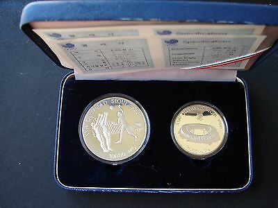 Set of 2 Silver Proof  Coins ! 5 000 WON 1987 and 10 000 WON 1987 !