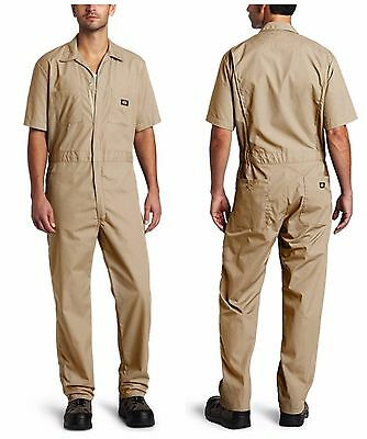 Dickies Khaki Short Sleeve Coverall Men's Size LS LARGE SHORT Jumpsuit 33999KH