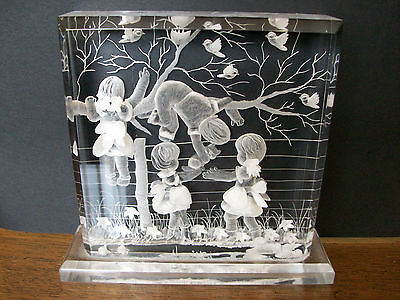Hamilton Signed Lucite Reverse Carved Sculpture Children - Beautiful Detail