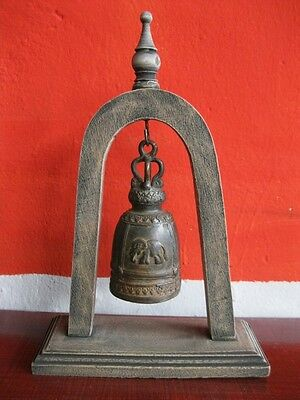 Antique Brass Bell Buddha Thai Style Rare Temple Hanging Home Decor Collect #3