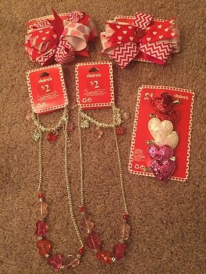 Nwt! Valentines Day Accessories Mixed Lot Barrettes, Necklaces, Bracelets