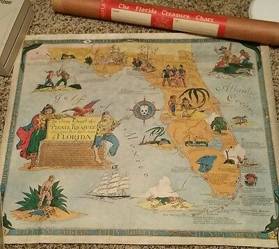1950 pictorial Chart Pirate Treasure Lost Land & Waters Florida POSTER