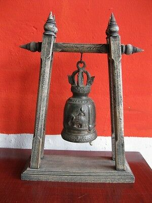 Antique Brass Bell Buddha Thai Style Rare Temple Hanging Home Decor Collect #4