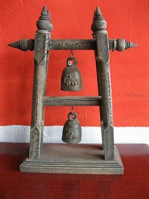 Antique Brass Bell Buddha Thai Style Rare Temple Hanging Home Decor Collect #5