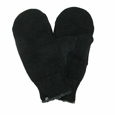 Isotoner Ladies BLACK Knit Mittens Suede Grips Palm Chenille Fleece Lined NEW