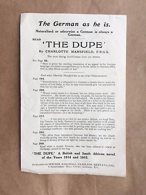 1915 THE DUPE By Charlotte Mansfield WWI Anti-German Book Publisher Ad Leaflet