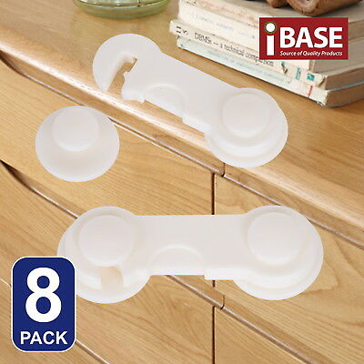 8x Child Adhesive Kid Baby Safety Drawer Door Lock Cupboard Cabinet Cute White