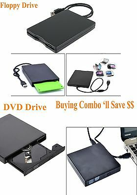 USB External DVD CD & 1.44MB Floppy Disk Drive FDD 3.5 For Windows Mac Laptop PC