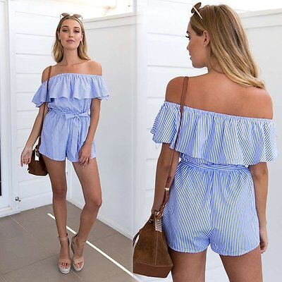 Summer Women Off Shoulder Ruffle Striped Bandage Short Jumpsuit Beachwear Romper