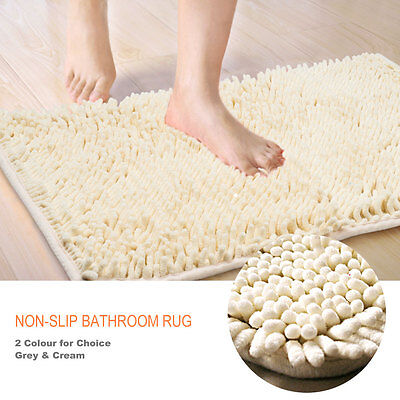 Shaggy Microfibre Bathroom Shower Bath Mat Rug Non-Slip Backing New - 2 Colours