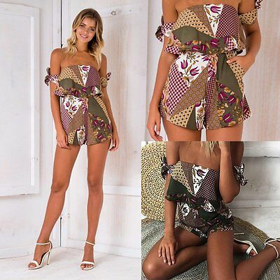 Women's Off Shoulder Short Jumpsuit Ethnic Floral Ruffle Strappy Culotte Rompers