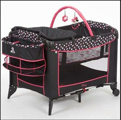 Playard for Baby Minnie Mash Up Newborn Bassinet With Toys Infant Nursery Crib