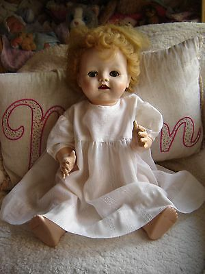 """Vintage Pedigree non walking 19"""" tall toddler doll. Two front teeth."""