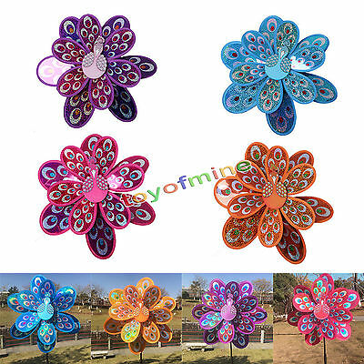 Kids Toy Double Layer Peacock Laser Sequins Windmill Colorful Wind Spinner 1pc