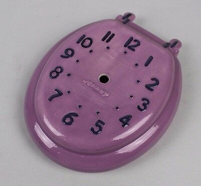 Vintage 1976 Johnny Purple Hand Made Ceramic Funny Toilet Seat Wall Clock