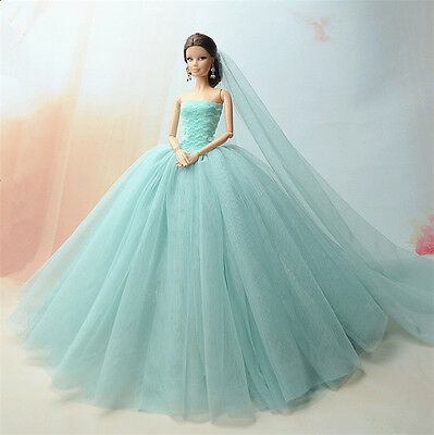 Fashion Royalty Princess Dress/Clothes/Gown+veil For Barbie Doll S519U
