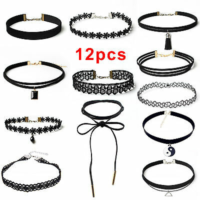 Fashion Women Classic Gothic Choker Set Velvet Tattoo Lace Retro Tie Necklace