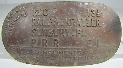 Old When MT Return 2 Ralpa Kratzer Sunbury Pa Metal Milk Can Tag Sign Nameplate