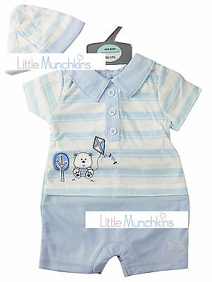 BABY BOYS TRADITIONAL SHORT BLUE ROMPER & HAT OUTFIT (NEWBORN or 0-3 MONTHS)