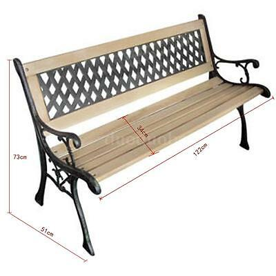 Outdoor Garden Bench Seat with Backrest Wooden Cast Iron Nostalgic Design O5T1
