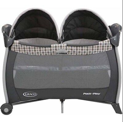 Twin Bassinet Playard for Baby Portable Infant Bed Removable Quilted Twin Crib