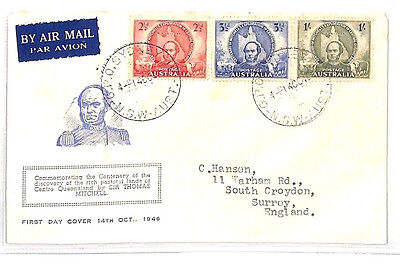 BH51 1946 AUSTRALIA Sir Thomas Mitchell Illustrated FDC Typed EXPLORER GEOGRAPHY