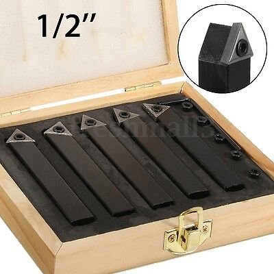 5Pc 1/2'' C6 Chipbreaker Carbide Indexable Turning Insert Tool Bit Set For Lathe