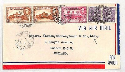 BH60 1947 ST LUCIA Commercial 2s11d Rate KGVI Airmail Cover GB London