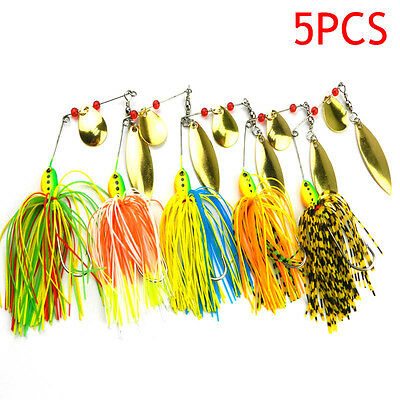 5x Fishing Hard Spinner Lure Spinnerbait Pike Bass Artificial Crankbaits New