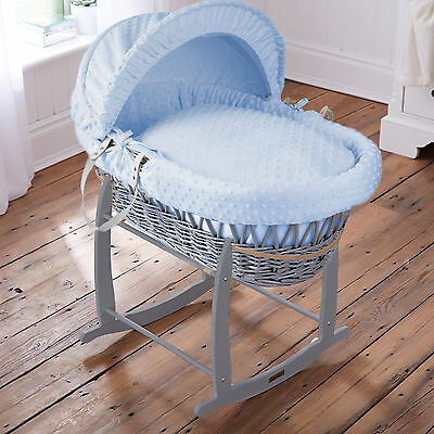Clair De Lune Blue Dimple Padded Grey Wicker Baby Moses Basket & Rocking Stand