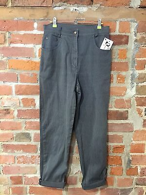 VINTAGE MOM JEANS TROUSERS HIGH WAIST TAPERED 90s GREY (j40) W29-31 L30 SIZE 12