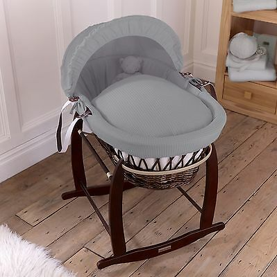 Clair De Lune Grey Waffle Padded Dark Wicker Baby Moses Basket & Rocking Stand